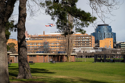 Helicopter landing, Albert Hospital