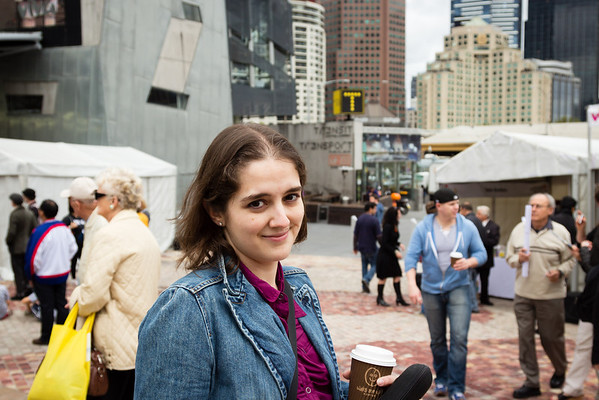 Felicity in Federation Square, Melbourne
