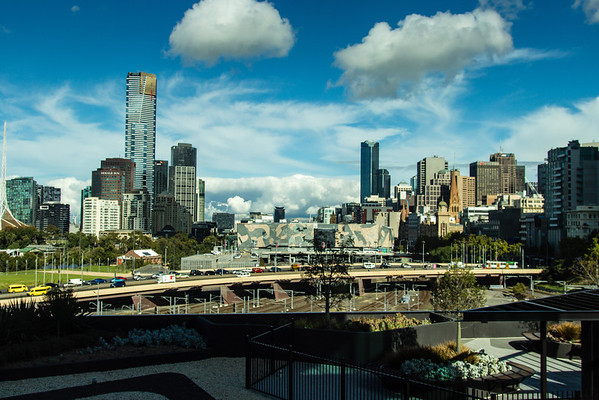 Downtown Melbourne, Batman Avenue in the foreground.