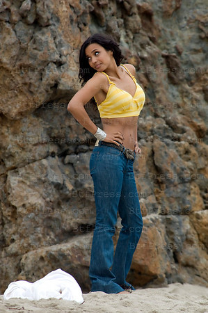 "Jessica Lucas during the set of ""Melrose Place"" in Malibu."