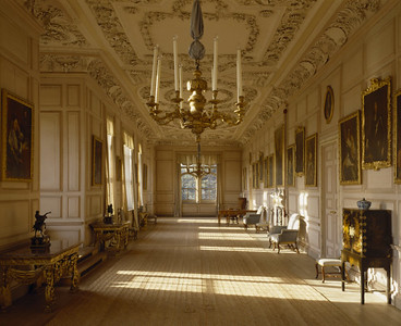 Looking down the length of the Long Gallery at Sudbury Hall, Derbyshire