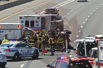 Melville F.D. MVA w/ Overturn and Entrapment L.I.E. westbound at Route 110 4/20/14