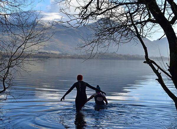 Winter wild swimming Bassenthwaite