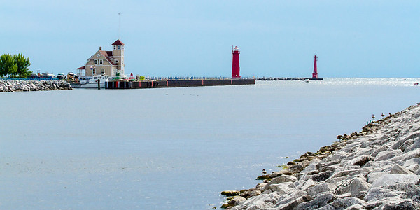 Muskegan South Pier & Breakwater Lights, Mi 120808-1 reduced size