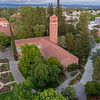 A sunset over campus looking from a aerial drone over George Petersen Rose Garden, Trinity Hall, and Kendall Hall on Wednesday, April 26, 2017 in Chico, Calif.<br /> (Jason Halley/University Photographer)