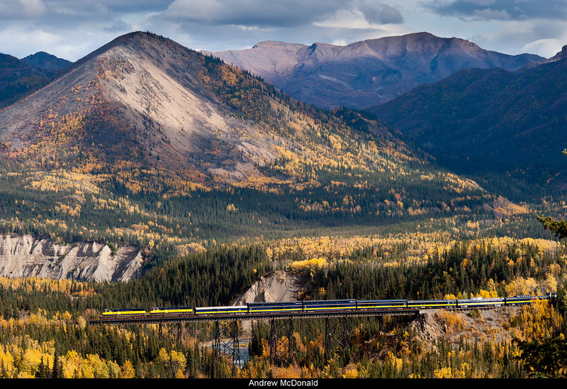 Alaska Railroad Train crosses over Riley Creek.