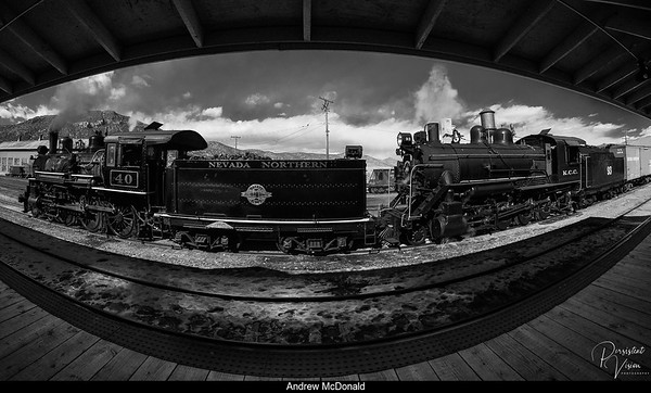 Nevada Northern Railway Locomotive #40 and #93 Doublehead parked by the Freight Depot