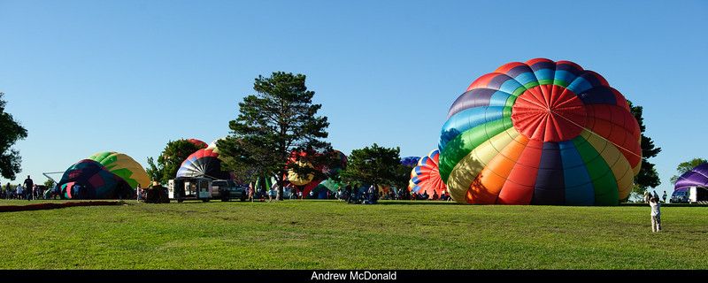 Balloons being set up