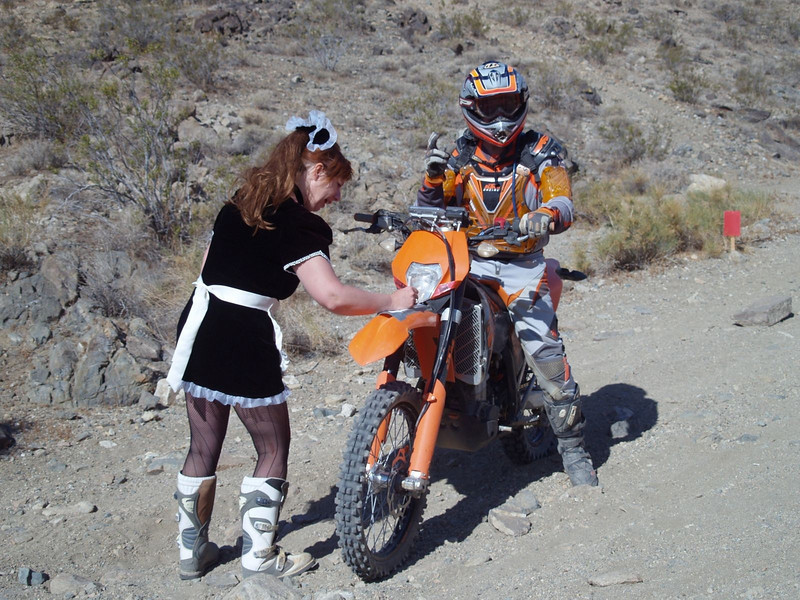 Working an enduro check with the Training Wheels Motorcycle Club in Southern California. - Cheryl Barrar.