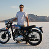 Tad Meadows of Reno, Nev., before setting an AMA land speed record on a 1955 BSA Gold Star during BUB event at the Bonneville Salt Flats in Utah in 2009. - Patti Meadows of Sparks, Nev.