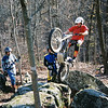 """""""The attached photo is observed trials training/practice in Bedford, Indiana. Pictured from left to right: Bill Super, Jim Zuroske, Chris Zuroske (on the bike), and Steve Smock. After our Trials Inc. season is over we have a training/practice/fun ride where we host our central Indiana trials veterans on Veteran's Day. Steve was the only veteran on this particular day. This photo was the basis for the image at the Stoney Lonesome 25th Anniversary Trials Inc. event in September 2009."""" - Bryan Halsey of Brownsburg, Ind."""