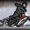 """""""Who says there is no riding in the winter ! This is my 'Nicky Hayden back'in it in' imitation! This picture was taken on the back waters of the Mississippi, in the Quad Cities, Iowa/ Ill. Home of the late great Davey Camlin. If you can hang with us here you are no slouch."""" - Randy Keemle of Rock Island, Ill."""