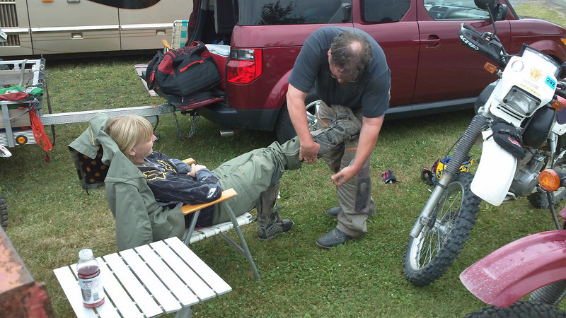 """""""Steve Hunter and his daughter, Stephanie, getting ready for day two of the Durty Dabbers Dual Sport ride in Mill Hall, Pa."""" - Mike Horan of Newtown, Pa."""