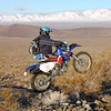 """""""Here is a shot of me while I was riding the Ridgecrest 250 Dual Sport<br /> Jan. 22 of this year with a few friends. And, yes, we got up into the snow in the background and it got too deep to get to the easy/hard way split so we made our way down and picked up the course at a lower altitude and continued on."""" - Jeffrey McKnight of China Lake, Calif."""