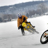"""A couple pictures of myself on the KTM, my friend Jesse on the DRZ and my 13-year-old son, Nathan, on the KX100. We have a group of 20-30 bikes that get together every weekend once the ice gets thick enough and plow a road course and ride all day long. We usually get out late December and can run into April if the ice holds out. Winters seem long in Wisconsin, but all it takes is some warm clothes and studded tires and riding season lasts all winter long!"""" - Brett A. Lobajeski of Fond Du Lac, Wis."""