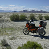 """""""Here is a great photo of my KTM 950 next to the dried up Quinn River in the desolate Black Rock Desert in northern Nevada (late June 2010). I was on a solo journey, following the historic Lassen-Applegate pioneer trail, a 200-mile off-road segment sure to please any adventure rider!"""" - Curtis Calder"""