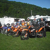 """""""Here's a photo from the start of the AMA National Dual Sport at Hancock, N.Y.<br /> Left to right – 'A' rider Ken Long, Super Senior Rich Kleindienst, Senior Don Beck, Senior Dave Chambers, Super Senior Walter Orcutt, Senior Bill Baldwin. Photo by Scott Mickelson."""" - Walter Orcutt of Andover, N.J."""