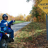 """""""Me in the Brushy Mountains in Wilkes County, N.C. I love riding the narrow, winding mountain roads on my Suzuki, DR-200 Dual Sport. So much to see and very little traffic!"""" - Pam McCarrick of Hiddenite, N.C."""