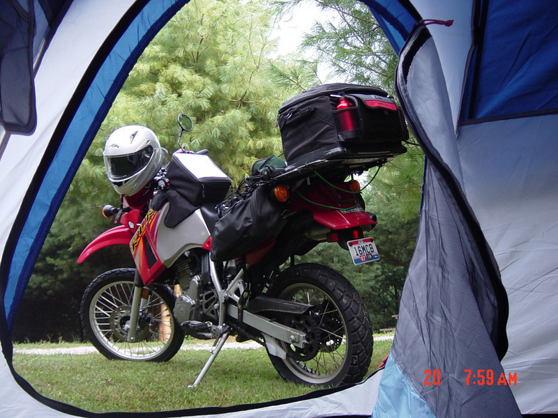 """""""A pic of my KLR650 I took out the door of my tent. I was on a camping trip in the Hocking Hills area in southeast Ohio."""" - Chuck Cannon of Bellaire,Ohio"""
