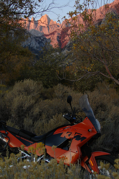 """""""My KTM 950 Adventure at the  Lone Pine Campground during our last morning of a 1,500-mile Eastern Sierra trek. - Stan Maly of Santa Maria, Calif."""