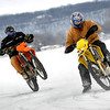 """""""A couple pictures of myself on the KTM, my friend Jesse on the DRZ and my 13-year-old son, Nathan, on the KX100. We have a group of 20-30 bikes that get together every weekend once the ice gets thick enough and plow a road course and ride all day long. We usually get out late December and can run into April if the ice holds out. Winters seem long in Wisconsin, but all it takes is some warm clothes and studded tires and riding season lasts all winter long!"""" - Brett A. Lobajeski of Fond Du Lac, Wis."""