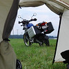 """""""Photo of my 2007 BMW F650 Dakar taken from inside my tent at the 2009 CMA (Christian Motorcyclists Association) Nation Rally in West Virginia.  The roads and riding in that part of the country are breathtaking!"""" - """"David Freeborn of Mountain Rest, S.C."""