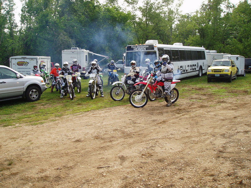 """James Ealer's Team Bultaco took time out from their racing schedule to attend the Midwest Trail Riders' 20th Show Me 200 AMA/KTM National Dual Sport Ride on June 6-7. Ten vintage Street Legal Bultacos' started and finished the challenging event! - Steve Thomas"
