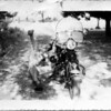 """""""Here's my favorite photo of my dad, Bob Potter, taken in 1954 with his 1947 Harley Model 74. The photo was taken in his parent's driveway in Raleigh, N.C. When my parents got married and moved to New Jersey, they left the bike in my grandparent's garage who 'sold' it. (The buyer skipped with the bike without paying for it!)"""" - Bill Potter of Webster N.H."""
