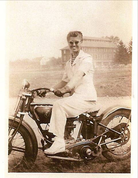 """""""It was great to see the 1928 Indian Prince in the May 2010 issue. Here is a 1946 picture of my Mom, Ruth 'Sis' Arnold, on her 1927 Indian Prince, a gift from her father, Fritzie Baer, the founder of the Laconia motorcycle races and a long time racer, announcer and official for the AMA. He was also inducted into the Motorcycle Hall of Fame in 1998. This picture of my mom is also in Cristine Sommer Simmons latest book, The American Motorcycle Girls 1900-1950, pages 194-195. Cris commented that """"Sis looks ready for Hollywood …..'Only Mom would have an all white outfit for riding. My Mom is definitely a Motorcycle Mama."""" - Bobby Arnold of Bow, N.H."""