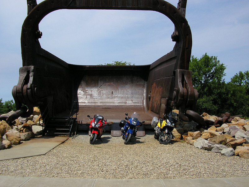 """""""Three of us from the Cleveland area went on a 'bucket run' and took a picture of our steeds in the bucket! The roads in the area rival any of the best motorcycling roads for sport riding. Always a fun outing."""" - Steve Tabler of Berea, Ohio"""