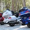 """""""Perhaps titled 'Red, White, and Blue Gold Wings in the Sierras,' this (unstaged) photo was taken near Volcano, Calif. These were three of several Blue Knights California 1 Chapter bikes on a Saturday morning ride. Those Hondas must have been made in Ohio!"""" - Vic Victorino of Folsom, Calif."""