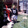 """""""The picture shows the after affect of my great-nephew learing how to ride in his Fremont, Calif., home backyard ...(helmet was worn)."""" - Arnold van Kempen Jr. of Hayward, Calif."""