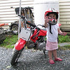 """""""Hello my name is Kayleigh Marie Kolenda and I'm now 2 years old. Before I was born my daddy bought me my Suzuki ATC50 which at 16 months I started to kick him off the back and ride by myself. My daddy is Kale Kolenda who hillclimbs AMA Division 1. I go to most of his hillclimbs and cheer him on which i love. So for my second birthday daddy bought me a CRF50 so i could start climbing which we hope to do at his last race in October in Cannan, N.H. I love to ride with daddy every night after dinner. Thanks daddy for being so much fun!"""" - Kayleigh Kolenda of Claremont, N.H."""