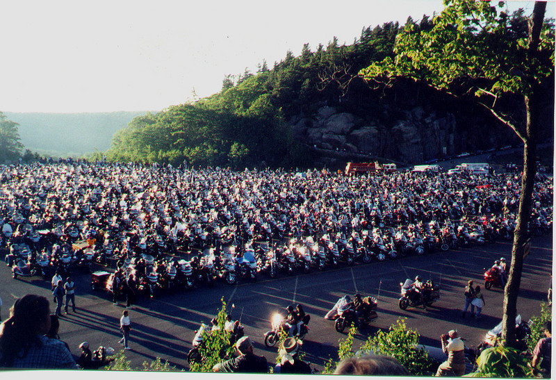 """""""Photo taken at Americade on Prospect mountain. Just a few of the bikes that show up in June."""" - Bob Cihil of Natrona Hts., Pa."""