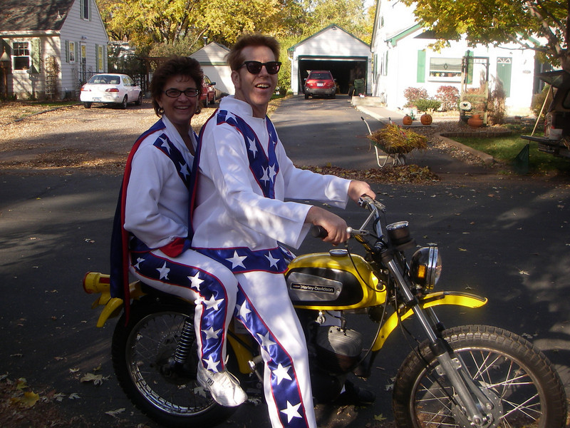"""Life Member Tom Whittles from Arden Hills, Minn., saying """"Happy Halloween from the Knievels."""" (Tom & Cheryl Whittles on one of my Harley- Aermacchi 125cc Rapidos.)"""