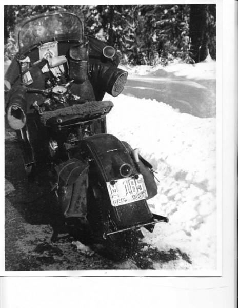 """""""My grandfather Gareld G. Collins(Papa) who is 97 this year was telling motorcycle stories and then showed me the attached pictures. The one with the deer was in 1937 on his 1937 Harley. He had been hunting and needed to get the deer back so he just loaded it up. The one in the snow was again in 1937 on his 1937 Harley. He paid $325 new for the Harley. The photo was at Crater Lake National Park. He told me they used to chain up  the front tire and just go riding."""" - Darrel Collins of Yreka, Calif."""