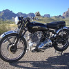 """""""This photo shows my 1952 Vincent Comet at the foot of the Chisos Mountains<br /> in Big Bend National Park (Texas)."""" - Bev Bowen of Plano, Texas"""