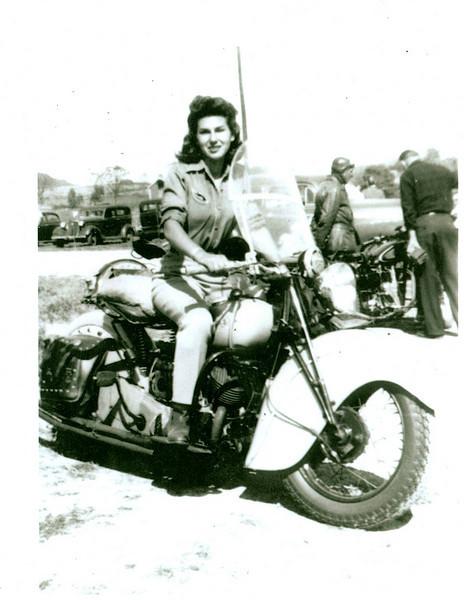 Gloria Tramontin Struck on her 1940 Scout. Photo taken in 1945 when she was 19. -  Lori DeSilva of Clifton, N.J.