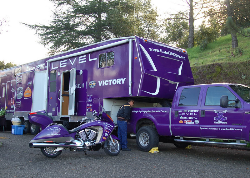 """""""I love when riders take on a cause. My friend, Chris Calaprice, his wife Jennifer, and my boyfriend, Andy Madison, a photographer/videographer, are on a mission to ride 42,000 miles this year through all 50 states, one mile for every person diagnosed this year with pancreatic cancer. Chris is a 6-year survivor of pancreatic cancer. While it is the most deadly of all cancers, pancreatic cancer gets only 2 percent of the national funding. Road 2 A Cure's goal is to raise awareness & funding for research. They will be documenting this monumental trip with videos, photos, and blogs, and in the end create a documentary. Riders can join with them at events, or become a virtual rider -  <a href=""""http://www.road2acure.org"""">http://www.road2acure.org</a>."""" - Blanche Solomon of Palmdale, Calif."""