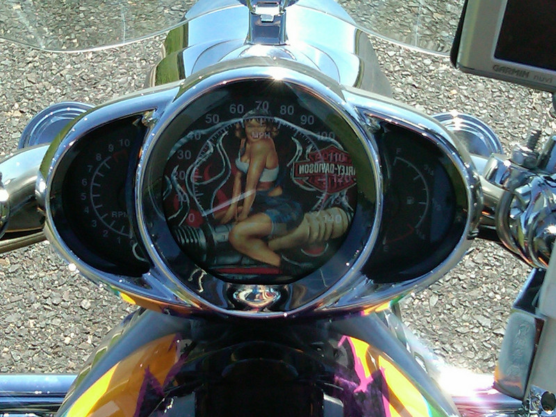 """""""This is a look at the instrument cluster of my V-Rod with the design on the front of my shirt reflecting over the speedometer!"""" - Joe Kamelgard of West Orange, N.J."""