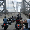 """""""The escorted Andiamo run over the George Washington Bridge between New York and New Jersey, Sept. 13, 2009. The top is closed and a thousand plus bikes loop the entire length. The run is an annual fundraiser for various charities. Picture was taken by my passenger while we were in the middle of the east bound loop; you can see the front of the group already returning towards NJ westbound. - Linda D'Anton"""