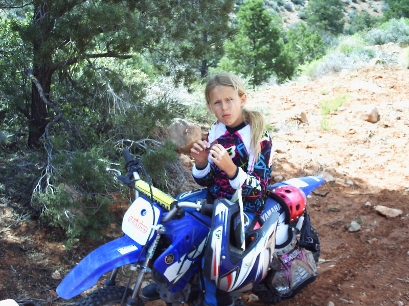 """""""My 9-year-old daughter, Carly. We had just completed a 90-mile ride from Mesquite, Nev., to the Bar 10 Ranch near the rim of the Grand Canyon. It took Carly 9-1/2 hours to make the trip on her TTR-90. She was pretty exhausted and took a truck back the next day but the memories will last forever. Thanks to Big Bear Trail Riders for sponsoring the club ride."""" - Dave Harlan of Yorba Linda, Calif."""