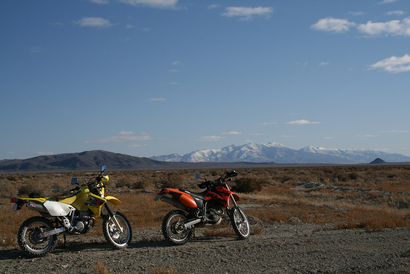 """""""My buddy Greg McKenzie (Suzuki DRZ400) and I (John W Frey, KTM SXC 625) took our bikes out to Nevada and rode from our camp in the Blackrock Desert into Winnemucca in November.  A bit of chilly weather didn't keep us home."""" - John Frey of Cedar Ridge, Calif."""
