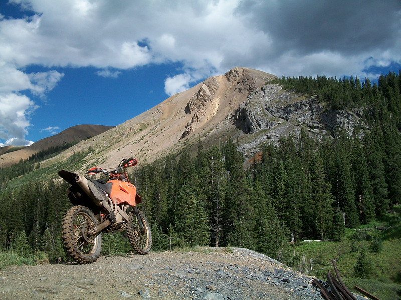 """""""Russell Stephan's 2002 KTM 520 MXC pausing for a break while riding the trails around Crested Butte, Colo."""""""
