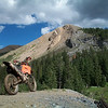 """Russell Stephan's 2002 KTM 520 MXC pausing for a break while riding the trails around Crested Butte, Colo."""
