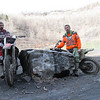 """L to R, Mike Garber and AMA member Dan Morton pausing at a quarry in Trevorton, Pa. while riding in the coal hills. Reading Anthracite, the landowner, sells riding leases to the property for $100 a year."" - Dan Morton of Mechanicsburg, Pa."