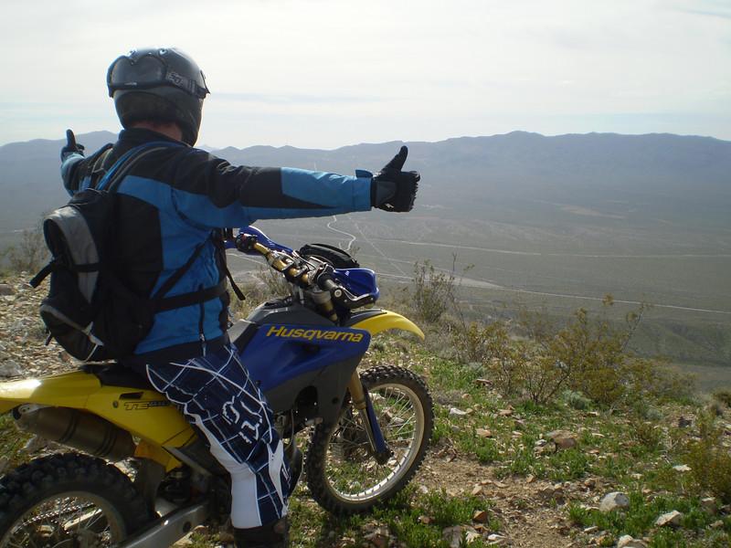 """This photo was taken in the Mojave Desert overlooking Randsburg, Calif., just after sunrise by myself. The rider is Dave Lorenz fron Ventura, Calif."" - David Robasciotti of Aroyo Grande, Calif."