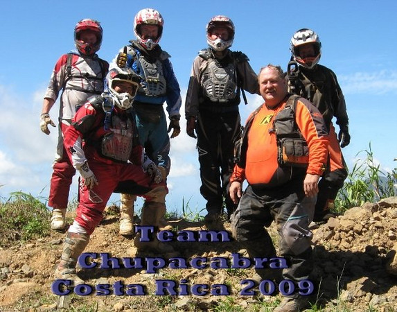 """Team Chupacabra somewhere outside of Manuel Antonio, Costa Rica, Virginia Championship Hare Scramble Riders Tour 2009 with MotoTours Costa Rica. Back Row L-R:  Chuck Honeycutt, Dr. Barney Perry, David Baldwin, Wayne Faddis. Front L-R Tony Dela Cruz, RJ Faddis."