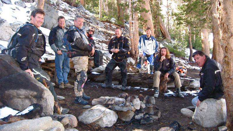 """This is a snapshot of our group that rode the VCMC Dualsport out of Bishop, Calif. Without any bikes in the pictures it truly shows what's cool about going riding. Taking a break at 10,700 feet in the High Sierra's is (from left) Tom Larson, Chet (Butch) Kohler, Mike Collins, Bill Glodfelty, Skip Cristy, Howard Phelps, Kurt Hathaway and Jim Wilson.  Joe Grasso took the pic."" - Howard Phelps"