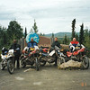 """""""This is a picture of four of us on our ride to the Arctic Circle north of Fairbanks, Alaska, on the way to Prudhoe Bay. This was a three-week trip for the four of us, which started in Cincinnati, of the over 10,000 miles we covered 3000+ was unpaved -- A truly great experience! Left to right are Lew Jones, Don Meece, Scott Gilpin and Jim Mounce. We've been riding buddies for 30-plus years and this was one of our greatest trips!"""" - Scott Gilpin of Goshen, Ohio"""